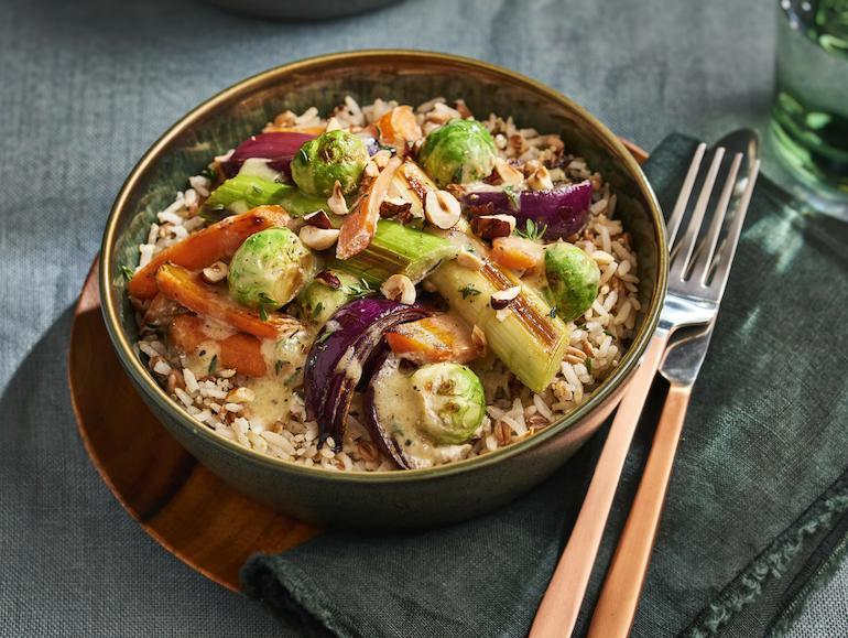 Lassie Recept - Groentestoof met hazelnoten en zilvervliesrijst +spelt én quinoa