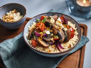 Lassie Recept - Portobello met tomaat en vegan feta