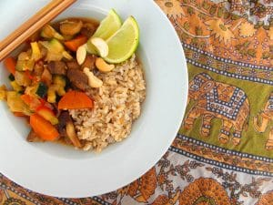 Rice with vegetables in soy sauce